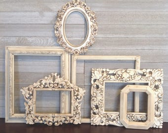 6 Piece Antique White Frame Gallery - Baroque Ornate Open Wall Frames - Frame Wall Decor