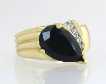 Estate 14K Yellow Gold 2.00ct Black Onyx & Genuine Diamond Ring