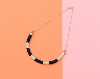 Navy And White Rope Necklace With Rose Gold Chain