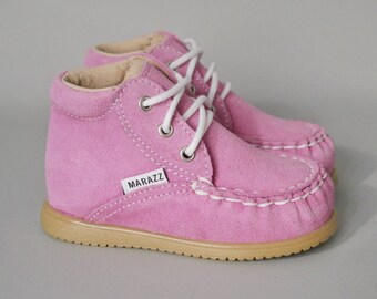 Toddler Moccasin Girl Toddler Shoes for Girls Girls High Top Shoes Sneakers for Girls Lace up Pink Suede Leather Size 3 4 5 6 7 8