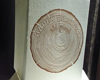 Happy Birthday Old Friend | Letterpress Birthday Card