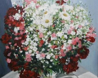 Flowers in a vase oil painting, original impressionistic flowers, original oil painting, still life oil painting, oil flowers wall art