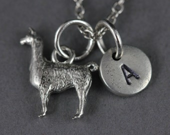 Llama charm necklace, animal necklace, llama jewelry, animal jewelry, personalize necklace, initial necklace, friend necklace