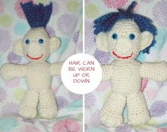 Blue Hair Troll Doll Crochet Troll Amigurumi Troll Doll Stuffed Toy Hair Can Be Worn Up Or Down