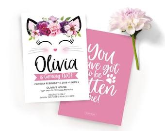 Cat Invitation, Kitty Invitation, Cat Party, Kitty party, Cat Face, Cat Floral, Kitty Birthday, Cat Birthday, Pink cat Invitation, Kitty,Cat