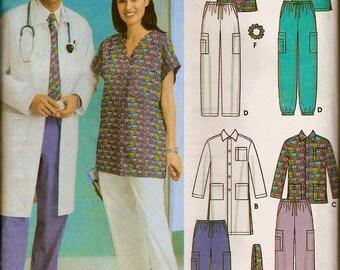 Plus Size SCRUBS Sewing Pattern - Easy Unisex Medical Scrub Tops Pants Jacket