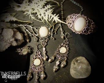 necklace bracelet earrings ring pagan wicca wiccan medieval silver jade clearquarz jewelryset fairywedding medievalwedding