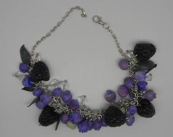 Polymer clay blueberry and blackberry bracelet