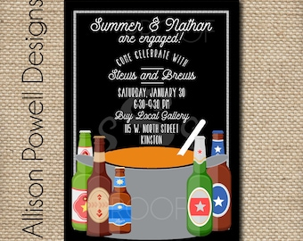 Stew and Brew Engagement Party, Neighborhood Party, Couples Shower Printable Invitation