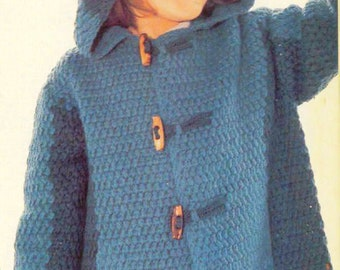 PDF Crochet Pattern for Children Coat/Hooded Jacket and Mitts to Match/Instant Download/3-4 years/Crochet Pattern- A375