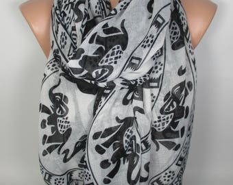 Elephant Scarf Mother's Day Gift Animal Scarf Pet Lover Gift Shawl Jungle Animal Scarf Gift For Her For Women Scarf Scarves Gift For Mom