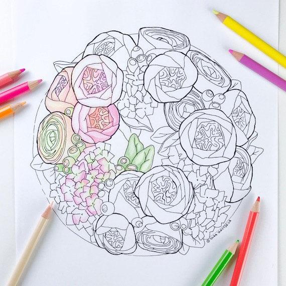 Erwachsenen Färbung Seite Blumenkranz Blume Malvorlagen für