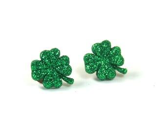 Shamrock studs, Shamrock earrings, Green shinny shamrock earrings, Leaf earrings, Lucky earrings, Sparkly earrings
