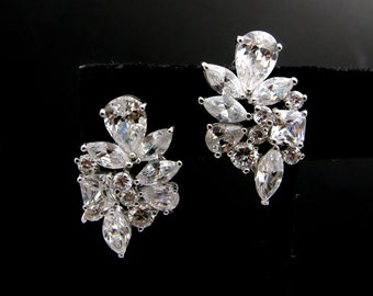 wedding bridal jewelry bridesmaid gift prom party christmas pageant multistone cluster cubic zirconia rhodium stud post earrings