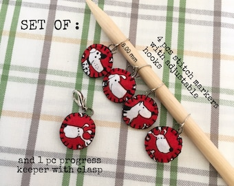Stitch Markers, progress keepers, handmade and handsewn from cotton fabric, set of 5
