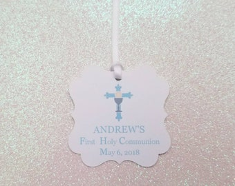 First Holy Communion Favor Tags *BOY *Blue Cross and Challis First Holy Communion Favor Tags *PERSONALIZED Communion Favor Tags