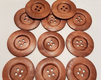 Extra Large Wood Buttons 60 mm diameter, 4 holes,  Brown color - Set of 2 buttons