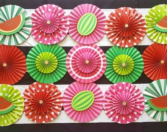 Watermelon Theme Paper Fans Party Decor Backdrop for Bridal Shower   Baby Shower    1st Birthday   Sweet Sixteen, 20pc, Watermelon  Backdrop