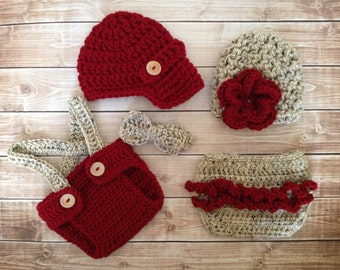 Vintage Twin Photography Prop Set in Cranberry and Oatmeal Available in 4 Sizes- MADE TO ORDER