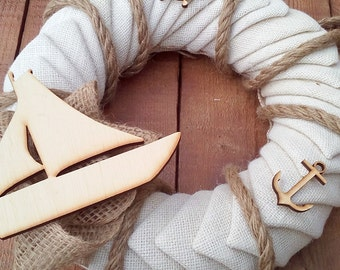 Ivory Beach Wedding Wreath - Ivory Burlap Wreath - Nautical Wreath - Burlap Door Hanger - Wedding Wreath - Burlap Wreath - Baptism Decor