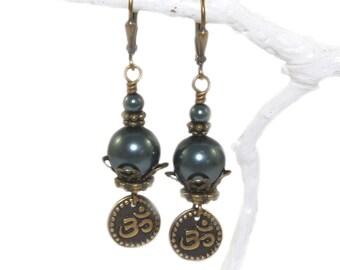 Swarovski Pearl Om Earrings, Tahitian Blue, Burgundy, Cream or Rose Pink - You Choose Color