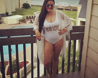 Bride One Piece Swimsuit Gold Lettering