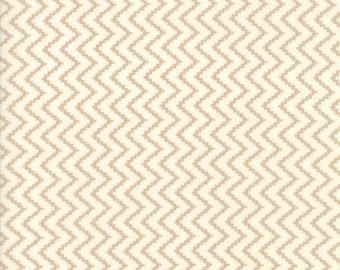 Coney Island Fabric - Tan - Fig Tree Fabric - Tan Chevron Fabric By The 1/2 Yard