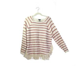 Vintage Boho Tunic Shirt Striped Shirt Boho Shirt Fringe Shirt Hippy Tunic Shirt Size Medium