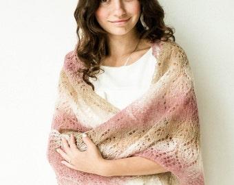 """Knitted shawl """"Air kiss"""""""