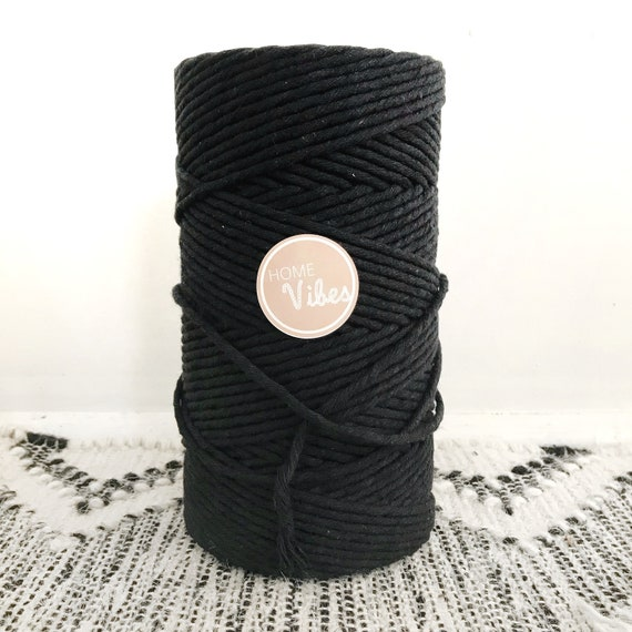 BLACKEST BLACK Single Twist Cord 4mm 1kg