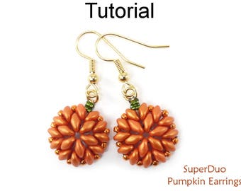 SuperDuo Pumpkin Earrings Beading Pattern - Two Hole Bead Tutorials - Halloween - Simple Bead Patterns - SuperDuo Pumpkin Earrings #26730