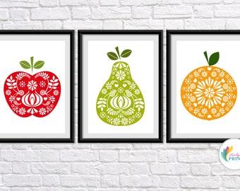 Vintage Fruit Prints, Kitchen Prints, Fruit Kitchen Prints, Mid-Century Fruit Prints, Retro Fruit Prints, Vintage Prints, Fruit Print Set