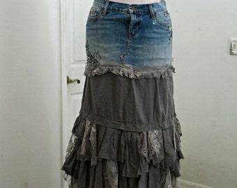 Vintage lace ruffled gray embellished ballroom jean skirt rhinestones  Renaissance Denim Couture  belle bohémienne