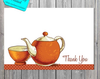 Tea Set Thank You Card, Shabby chic Thank You Card, Antique tea thank you note cards PROFESSIONALLY PRINTED also available in digital format