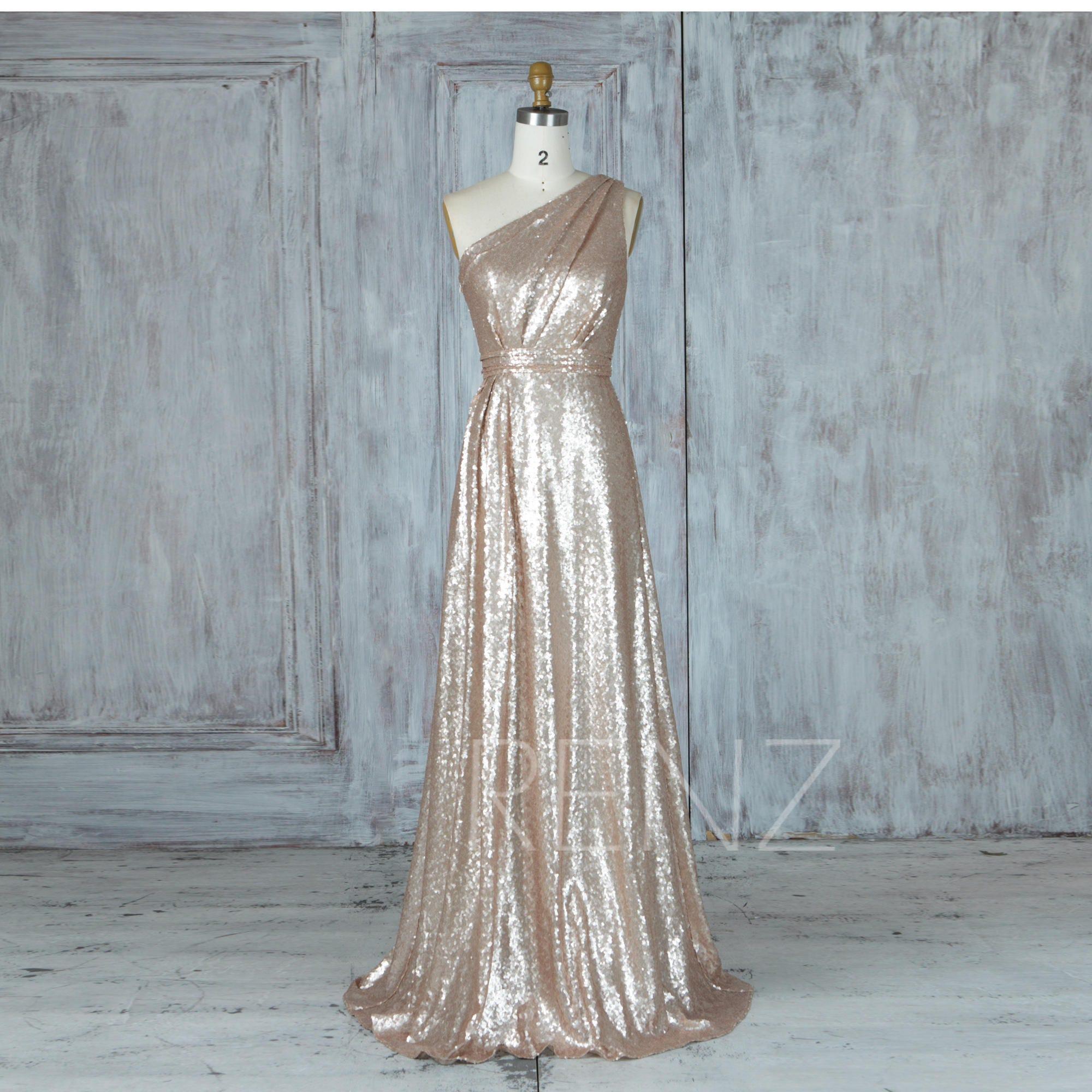 Bridesmaid Dress Tan Sequin Wedding DressRuched One Shoulder
