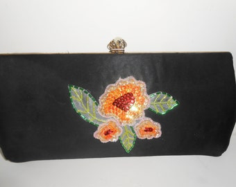 Black Evening Bag, Beaded Evening Bag, Vintage Purse, Black Clutch Bag, Clutch Handbag EB-0525