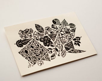 FEBRUARY LINOCUT PRINT, Handmade and hand pulled linocut print, Limited edition printed art, Nature inspired art print, Blacka and white art