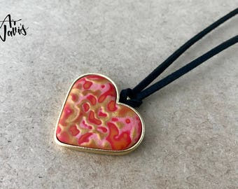 Heart Pendant // Pendant Necklace // One of a Kind Red Heart Shaped Polymer Clay Choker // Handmade Gold Plated Necklace // Gift for Her