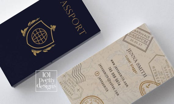 Travel business card traveller business card passport business travel business card traveller business card passport business card design travel blogger modern business card printeble gold navy tourism colourmoves