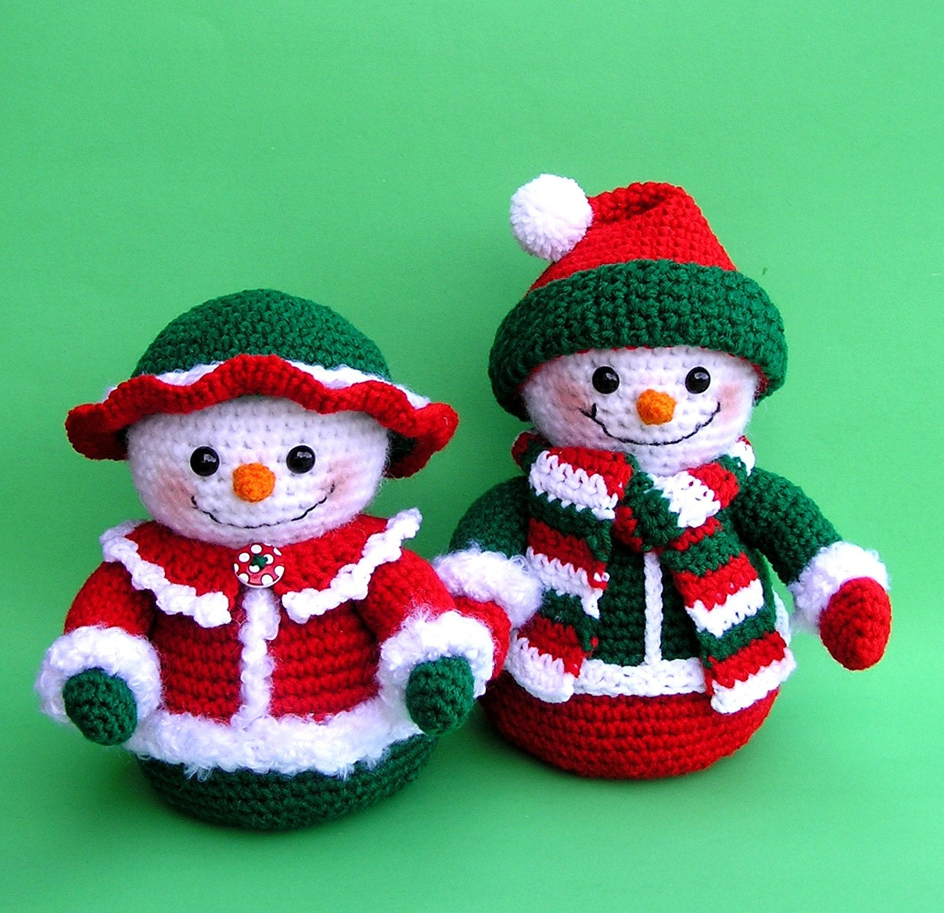 PDF Crochet Pattern Mr and Mrs WINTERS Snowmen English only