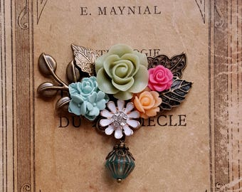 Flower assemblage brooch Czech glass Sage green and slate blue flower Corsage flowers Gift for her