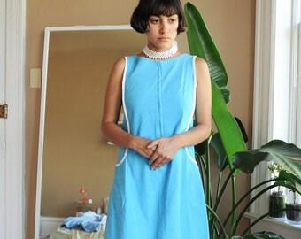 Vintage 60's Skimma Blue & White Dress, Size Small / ITEM625