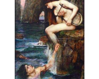Mermaid Print   The Siren Lures Men with her Songs   Repro JW Waterhouse
