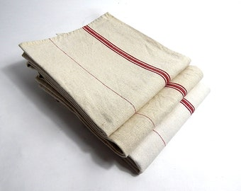 Vintage 'Man-sized' enormous Professional French Kitchen Towel or Torchon with Red Stripes