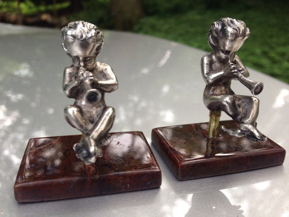Rare 19th C. Pair of Putti or Satyrs Mounted to a Moss Agate Pedestal
