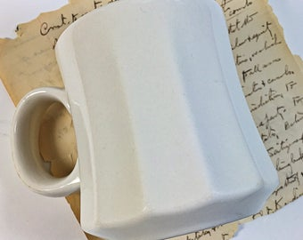 Homer Laughlin Cream ribbed  panel sided restaurant ware coffee mug USA HLC
