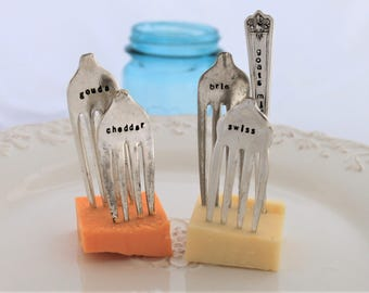 Antique CHEESE MARKER Forks - 5 Vintage Silverplate Forks Made for Cheese ID - Goats Milk, Cheddar, Gouda, Swiss & Brie