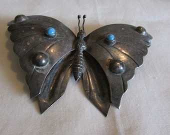 Vintage Sterling Silver Butterfly Pin from Mexico
