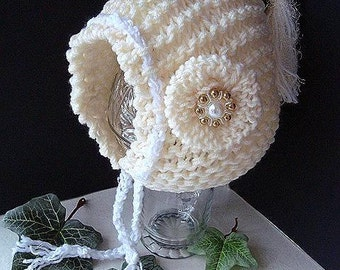 KNIT BONNET HOOD - Hat Knitting Pattern - Newborn baby to Adult sizes, Knitted Flower,  beginner level, #594,