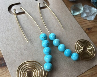 Brass and Turquoise Spiral Pendulum Earrings